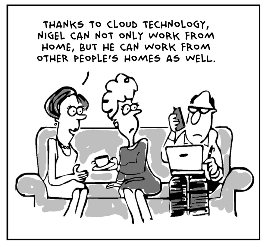 Cartoon of man working while visiting friends.