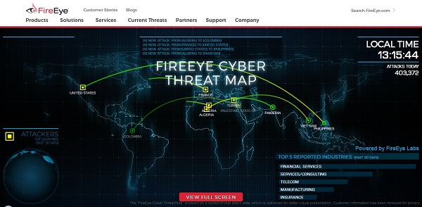 Real time hacking attacks fireEye