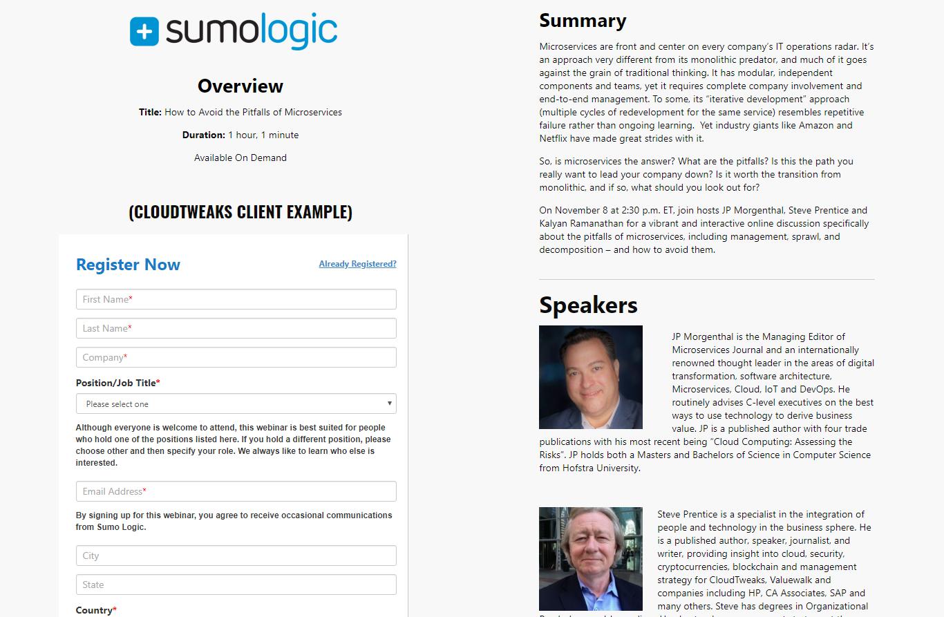 Sumo Logic Webinar + Landing Page