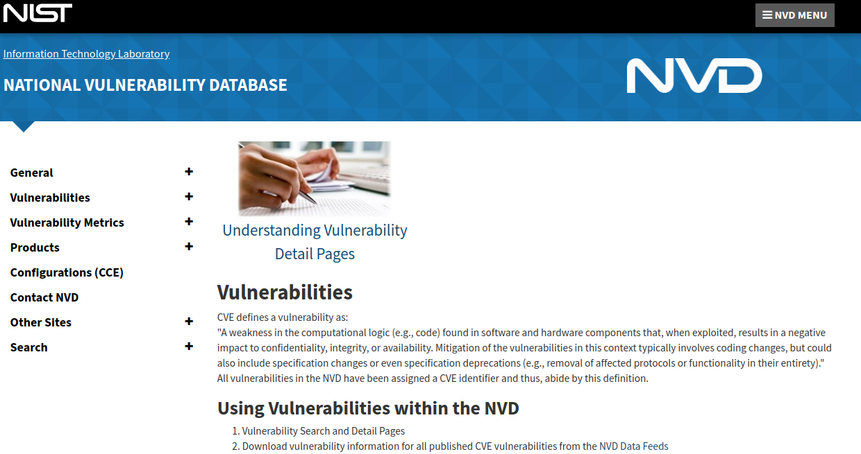 Vulnerabilities Nist Data